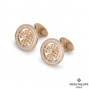 Patek Philippe Rose Gold Diamond Calatrava Cross Cufflinks
